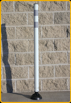 Spring/Magnet Post, in white with gray reflective bands