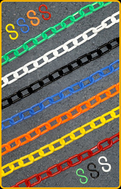 "Chains and ""S"" hooks are available in multiple colors"